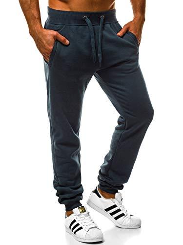 OZONEE Herren Jogg Hose Baggy Hose Regular Sporthose Freizeit Hose Jogginghose Freizeithose JS/XW01 DUNKELBLAU L