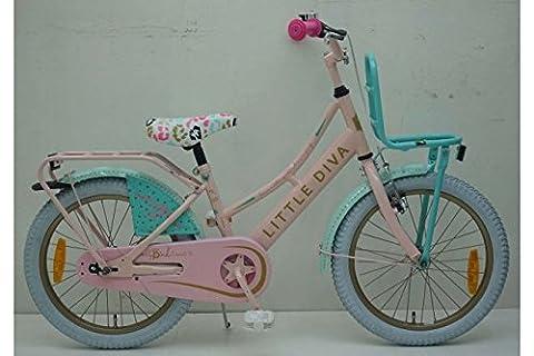 Vélo Enfant Fille Little Diva 18 Pouce Frein Alloy V et à Rétropédalage Rose et Paradisiaque - 95% assemblé