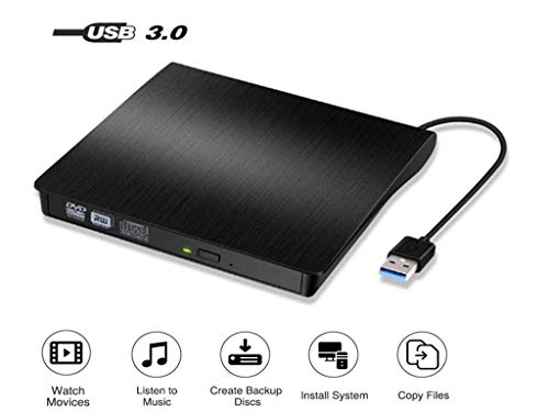 k USB3.0, DVD/CD Brenner, tragbar USB CD Laufwerk für alle Laptops und Desktops, Notebook, kompatibel mit Windows XP/ Win8.1/ Wind10/ Vista/7, Linx,Mac10 OS System ()