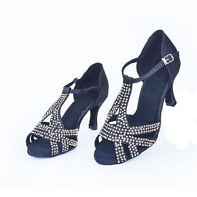 XIAMUO Anpassbare Frauen Wildleder Sohle Satin Schuhe Modern/Salsa/Latin/Swing Schuhe Ferse schwarz Latin Dance Sneakers/Tap Mandel