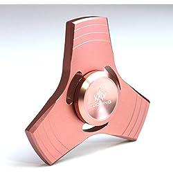 TUOKing Mano Fidget Spinner, 2-3 Minutos Tiempo de Rotación Bricolaje Hilandero Juguete, Ligero Aleación de Aluminio Material EDC ADHD OCD Dejar de Fumar y Tiempo de Matar (Oro rosa)