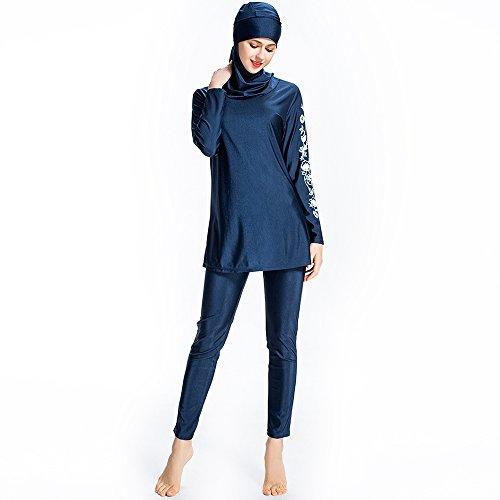Mr Lin123 Bañador musulmán islámico para mujer, bañador de cobertura completa, bañador musulmán, playa, traje de baño burkini, Blue-floral, Large