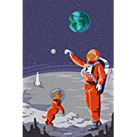 Notebook: Space Astronaut and Space Dog Journal Galaxy Universe Cosmos Composition Book Spaceman Gift