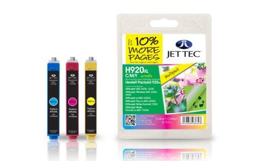 Preisvergleich Produktbild Jet Tec CD972AE CD973AE CD974AE HP HP920XL Multipack In England hergestellte Wiederaufbereitete Tintenpatrone, cyan, magenta, gelb