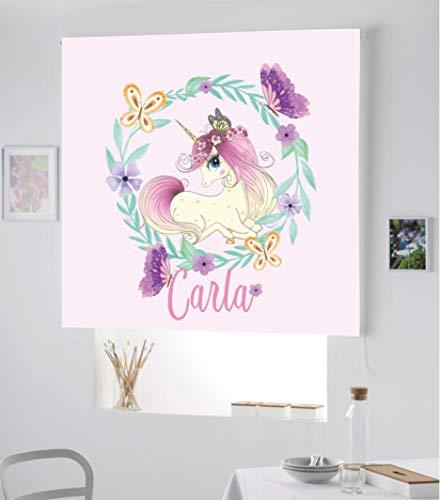 Desconocido Estor Infantil Enrollable TRANSLUCIDO Digital Unicornio Carla para Poner TU Nombre¡¡Nuevo Estor Enrollable Infantil con Nombre A Todo Color DE Unicornio (Rosa Claro, 140X170)