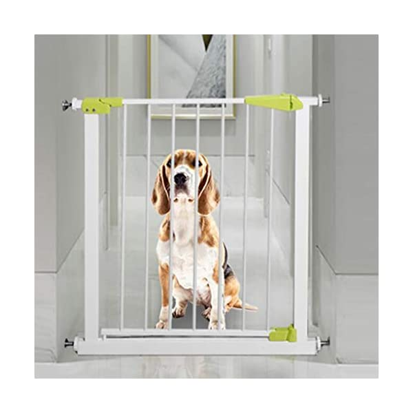 Infant child baby safety gate bar stairway fence free punching household protective railings pet dog isolation fence AA-SS-Safety Door ♥Squeeze and lift handle for easy one handed adult opening ♥Quick-release fittings for removal when not required ♥Includes stop pins for mounting at the top of stairs 4