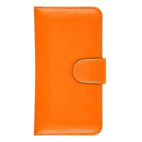 iPhone 6 Plus / 6S Plus Hülle Leder Klapphülle mit Kartenfach GizzmoHeaven Schutzhülle Tasche Flip Case Cover Etui Handyhülle für Apple iPhone 6 Plus / 6S Plus mit Displayschutzfolie und Stylus-Stift  Orange