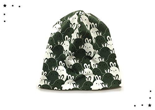 Mütze Beanie Beaniemütze Hasen olivgrün Häschen (Olivgrün Gefüttert)
