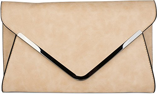 Metallic Pu-geldbeutel-handtasche (styleBREAKER Envelope Clutch, Abendtasche im Kuvert Design mit Schulterriehmen und Trageschlaufe, Damen 02012047, Farbe:Beige)