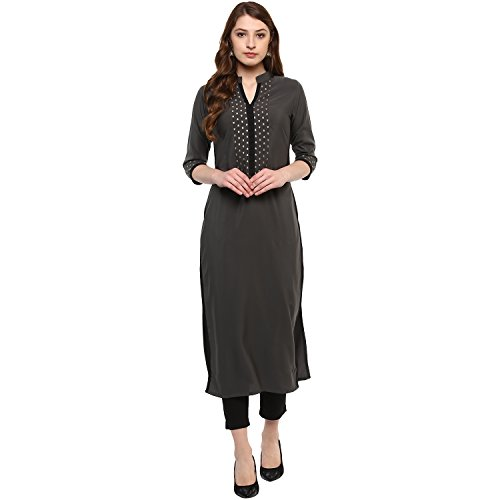 Ziyaa Women's Straight Kurta (zikucr2108-m!_grey!_medium)