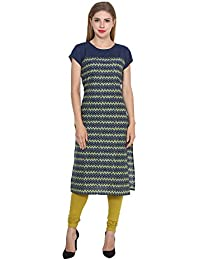 Amayra Casual Cap Sleeves Round Neck Blue Printed Casual Women's Kurti