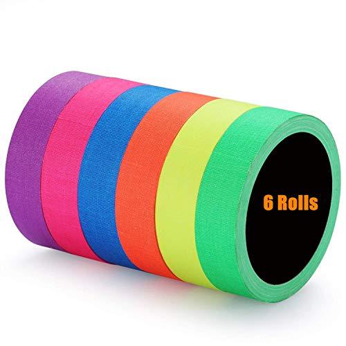 Cinta adhesiva fluorescente / de neón (0.5 in x 16.5 pies) 6 piezas