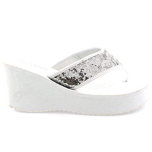 Damen Pailletten Flip Flops Zehenriemen Plattform Keilabsatz Sandalen Weiß