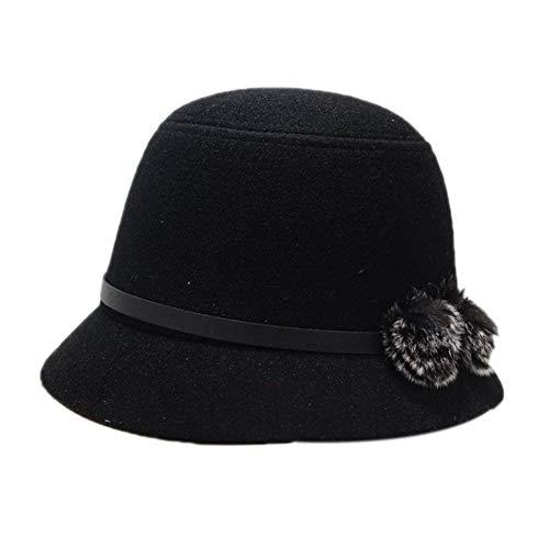 Mützen Glockenhut Damen Elegante Herbst Winter Filz Hut Hipster Retro Einfach Zu Kombinieren Derby Bowler Hats Filzhut Caps (Color : Schwarz, Size : One Size)