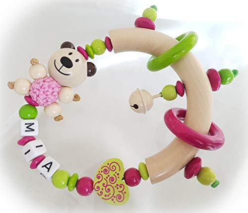 Baby Greifling/Rassel mit Namen - Mädchen - Wunschnamen (Lemon, Pink, Teddy)