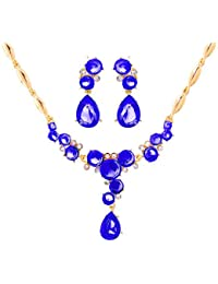 Ruvee Blue Sapphire Gemstones Studded Jewelry Necklace Set For Women & Girls For Parties & Weddings