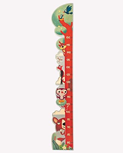 Dida - Metro da parete in legno misura altezza per bambini a forma di albero con picchio e altri animali del bosco.