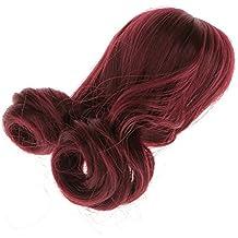 Fashion Muñecas Peluca de Pelo Rizado Largo para 1/3 1/4 1/6 BJD SD Fabricación Y Reparación - 1/6, Vino rojo