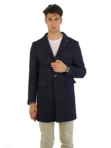 Barbati cappotto uomo monopetto collo revers pied poule TONY522 (46, BLU)