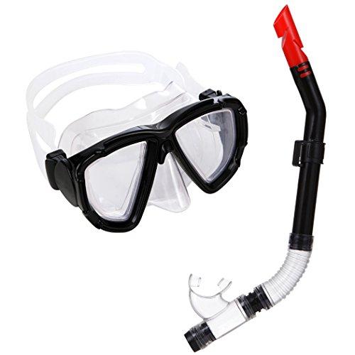 Jucarvo Schnorchel-Set mit Tauchermaske und Schnorchel Wasser Tauchen Schnorchel Maske Gear Sports Profi Tauchmaske Dry Schnorchel Set Kinder für Jugendliche und Erwachsene schwarz