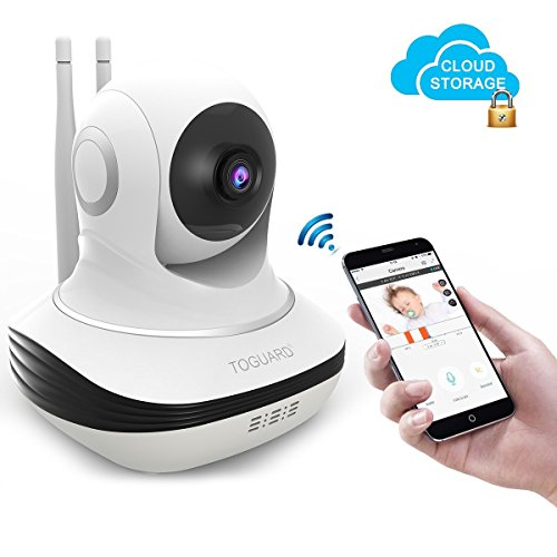 Toguard Security IP Camera, Cloud Storage Live Steam HD Home Wireless Surveillance IP Camera WiFi Baby Monitor with Night Vision Pan/Tilt Two way Talk ( Free App supports iOS Android)