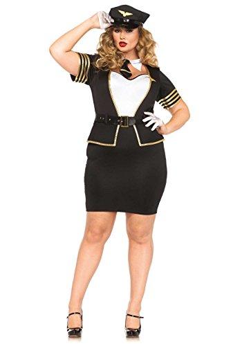 Leg Avenue 85423X - Mile High Pilot Damen kostüm, Größe 1X-2X ( EUR 44-46) (Kostüm Frau Pilot)
