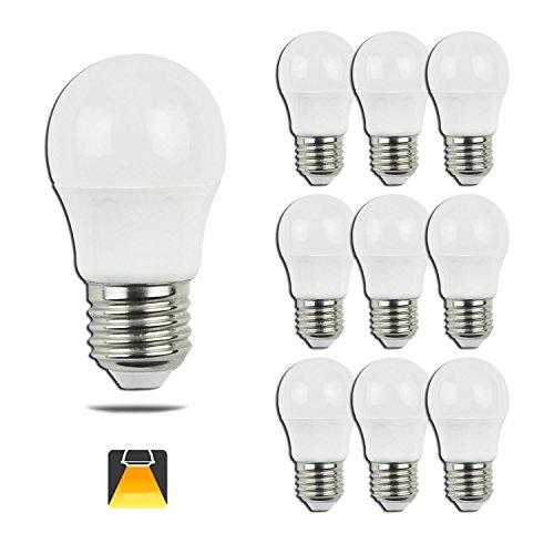 Aigostar   Bombilla LED A5 G45, E27, 5 W equivalente a 40 W, 3000K, 400 lúmenes, no regulable   Pack de 10