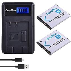 DuraPro 2Pcs NP-BN1 Battery + LCD USB Charger for Sony Cyber-Shot DSC-W800,DSC-WX220,DSC-W830,DSC-W810,Sony DSC-QX30,DSC-QX100,DSC-QX10 Digital Camera