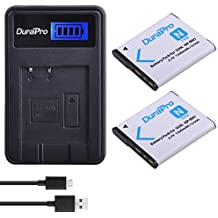 DuraPro 2Pcs NP-BN1 Battery + LCD USB Charger for Sony Cyber-Shot DSC-W800,DSC-WX220,DSC-W830,DSC-W810,Sony DSC-QX30,DSC-QX100,DSC-QX10 Digital Camera