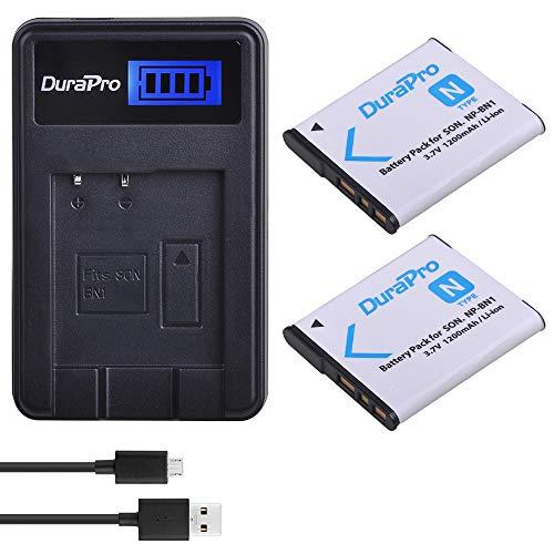 DuraPro NP-BN1 Akku und LCD-USB-Ladegerät für Sony Cyber-Shot DSC-W800, DSC-WX220, DSC-W830, DSC-W810, Sony DSC-QX30, DSC-QX100, DSC-QX10, 2 Stück