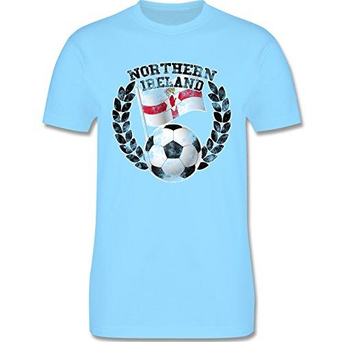 EM 2016 - Frankreich - Northern Ireland Flagge & Fußball Vintage - Herren Premium T-Shirt Hellblau