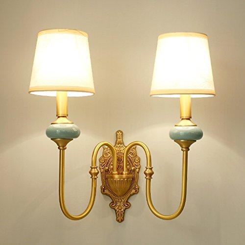 SKC Lighting-Applique murale Plein cuivre salon européen créatif double tête chambre à coucher lampe de chevet