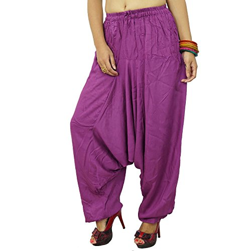 Pantalons Alibaba Harem Yoga Femmes Pantalons Baggy Gypsy Hippie Boho pourpre
