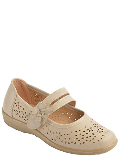 Fixer De Dames Simple Ajustement Réglable Velcro Chaussures Beige