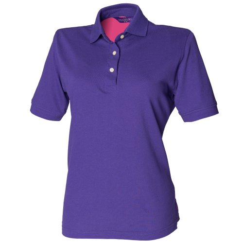 Henbury Ladies Cotton Shirt, Polo Femme Pourpre
