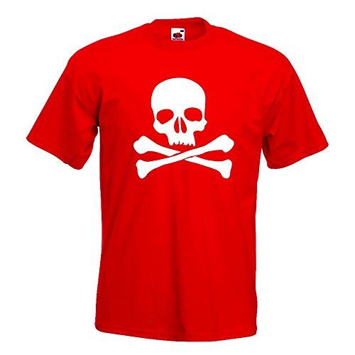 KIWISTAR - Totenkopf - Todessymbol - Piratenzeichen T-Shirt in 15 verschiedenen Farben - Herren Funshirt bedruckt Design Sprüche Spruch Motive Oberteil Baumwolle Print Größe S M L XL XXL Rot
