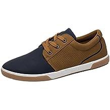 Zapatos de hombre Zapatos masculinos Casual Mocasines Costura Deporte Corriendo Excursionismo Zapatos LMMVP (Marrón, 40)