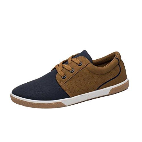Zapatos de hombre Zapatos masculinos Casual Mocasines Costura Deporte Corriendo Excursionismo Zapatos LMMVP (Marrón, 45)