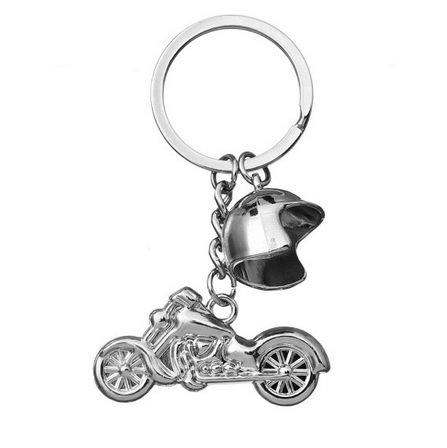 Preisvergleich Produktbild Motorrad mit Helm Schlüsselanhänger aus Metall