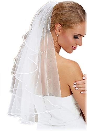 BrautChic® BRAUTSCHLEIER kurz - 70 cm, ca. bis zur Taille - Wundervoll NEUTRAL - Passt perfekt zu nahezu allen Brautkleidern - WEIß
