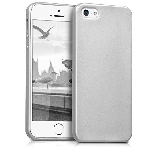 kwmobile Hülle für Apple iPhone SE / 5 / 5S - TPU Silikon Backcover Case Handy Schutzhülle - Cover Metallic Blau .Metallic Silber