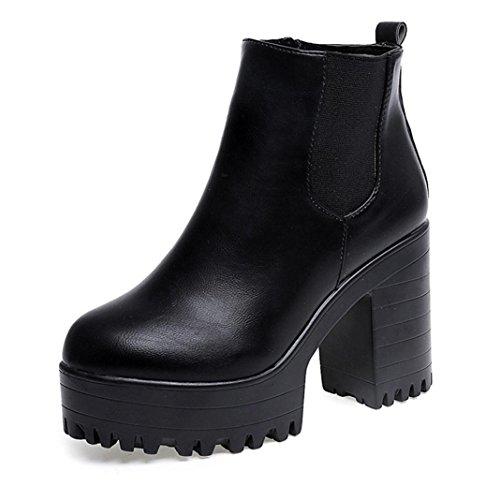 Fcostume Damen-Stiefel, quadratischer Absatz, Plattform-Stiefel, Leder-Stiefel, Schuhe mit hohem Absatz