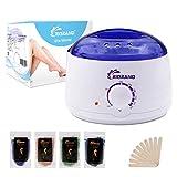 RioRand Wachswärmer Wachs Haarentfernung Wachserhitzer Waxing Kit Set mit 4 Verschiedene Aromen Bean und 10 Wischstöcke für Intimzone, Beine, Arme und Gesicht