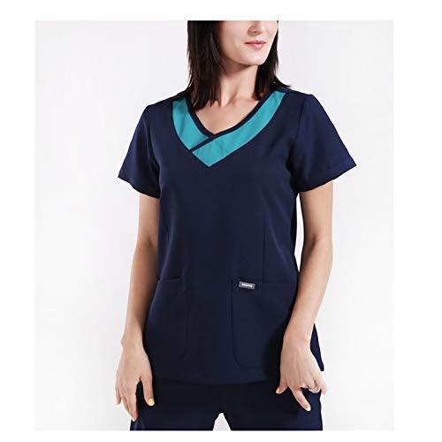 CX ECO Frauen V-Ausschnitt Peeling-Sets Medizinische Uniformen Frauen Schatz V-Ausschnitt Anti-Falten Komfortable Krankenschwester Scrub Top + Hosen,Blue,XXXL