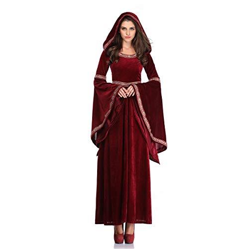 Halloween Vampir Zauberin Kostüm Kleid Palast Todesser Retro-Kleid Umhang Kapuze Erwachsener Punk Gothic Mittelalter Party Fasching Cosplay Karneval Bühne Tarnung (Erwachsenen Todesser Kostüme)