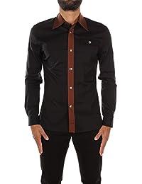 UCM965NEROCACAO Prada Chemises Homme Coton Noir