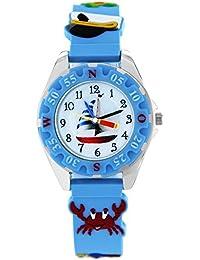Pacific Time Kinder-Armbanduhr Piraten Armbanduhr Kinder Jungen Maritim Piraten Jungs Kinderuhren Uhren Lernuhr bunte Zeiger Uhr Kinderarmbanduhr Kinderuhr analog Quarz blau 86281