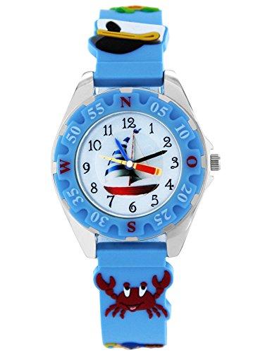 Pacific Time Kinder-Armbanduhr Piraten Armbanduhr Kinder Jungen Maritim Piraten Jungs Kinderuhren Uhren Lernuhr bunte Zeiger Uhr Kinderarmbanduhr Kinderuhr analog...