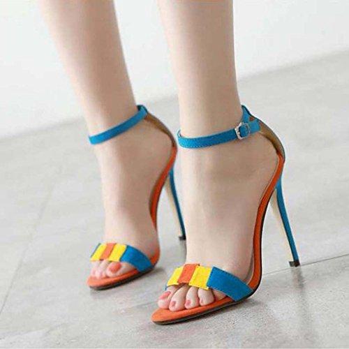 SHEO sandales à talons hauts Ladies Europe et les États-Unis avec des sandales de ceinture à talons hauts ( Couleur : Bleu , taille : 36 ) Bleu