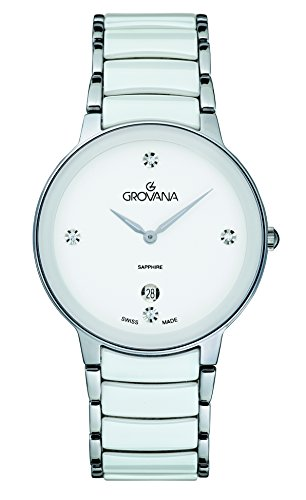 Grovana Women's Quartz Watch with White Dial Analogue Display and Two Tone Ceramic Bracelet 4020.1183